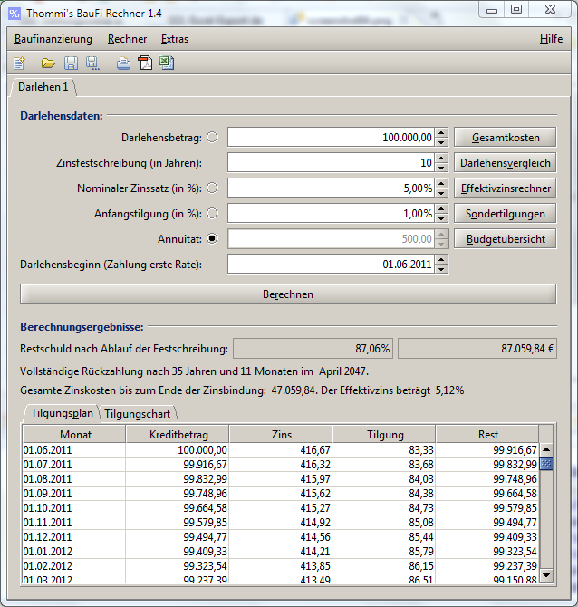 Screenshot vom Programm: Thommi's BauFi Rechner